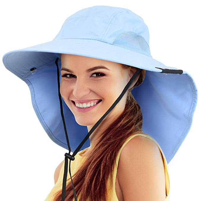 Safari Sun Hats for Women Fishing Hiking Cap with Neck Flap Wide Brim Hat  Blue