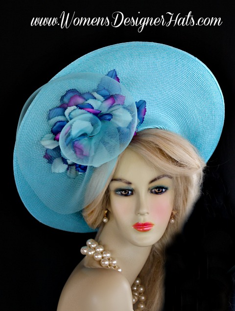 Ladies Turquoise Blue Haute Couture Designer Fashion Hat With A Lift Up  Brim. This Designer Dress Hat Is Trimmed With A Large Turquoise Blue Crin  Rosette ...