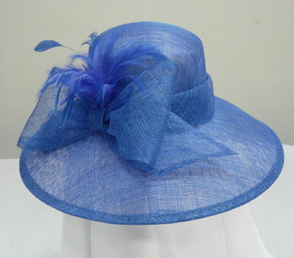 Royal Blue Sinamay Ladies Hats For Church With Sinamay Bow And Feather Trim