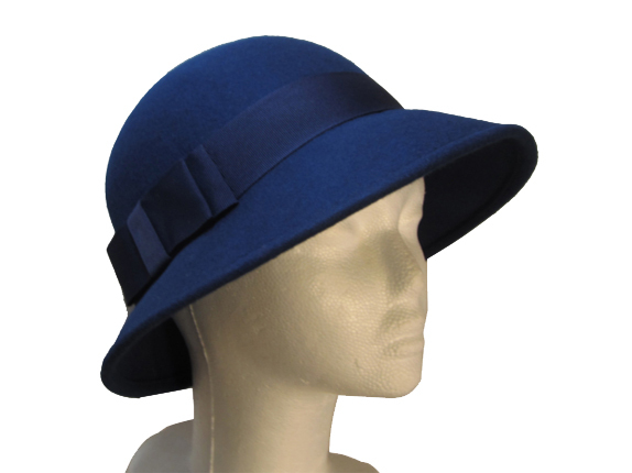 Women's Dark Blue Wool Hat with Wide Grosgrain Bow