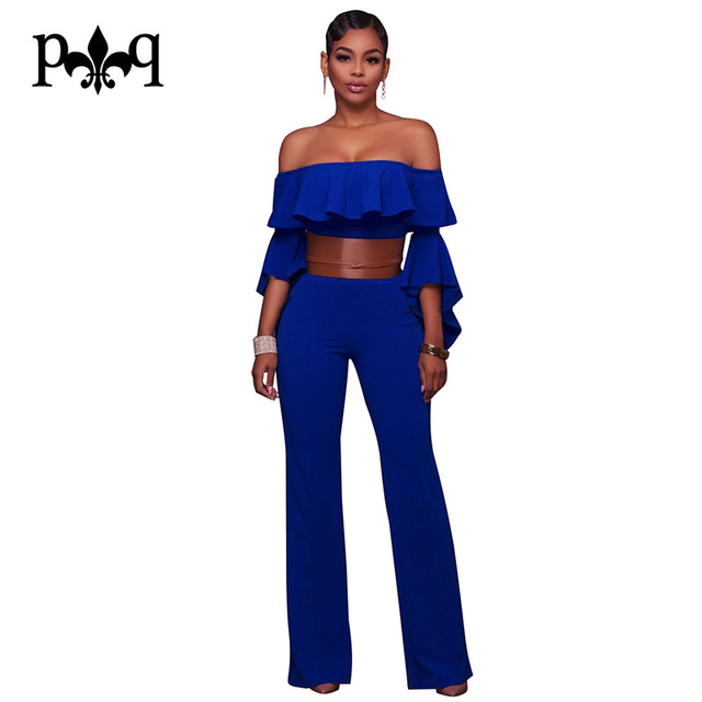 Sexy Jumpsuit Women Off Shoulder Blue White Jumpsuits Ruffles Flare Sleeve  Wide Leg Jumpsuit Elegant Casual