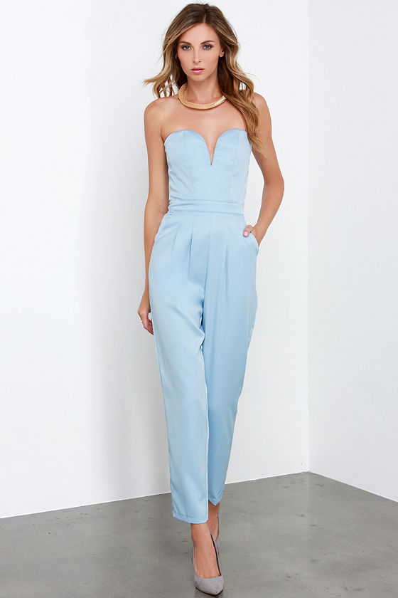 Glamorous Ever After Party Light Blue Strapless Jumpsuit