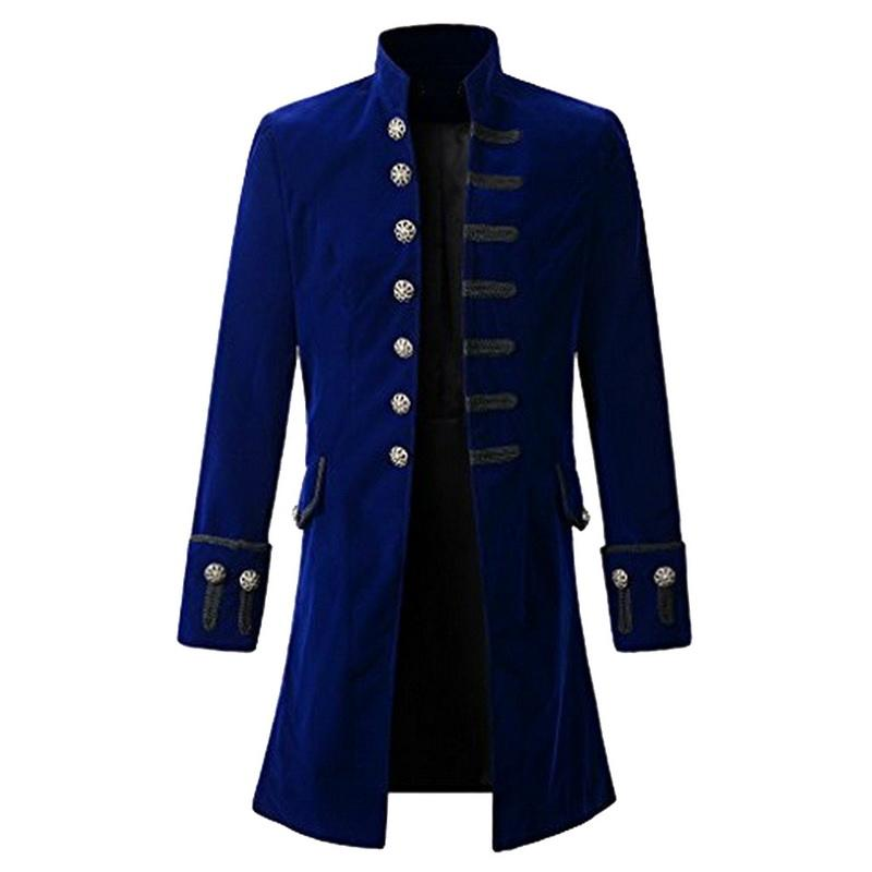 Vintage Mens Gothic Trench Coat Long Jacket Overcoats Steampunk Gothic Coats  Men Halloween Punk Clothing Tenchcoats Black Blue Mens Coat Blue Jacket  From ...
