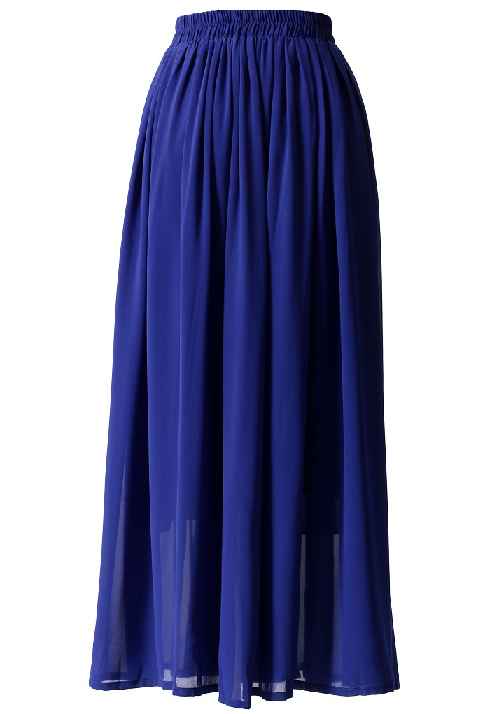 More Views. Blue Pleated Maxi Skirt