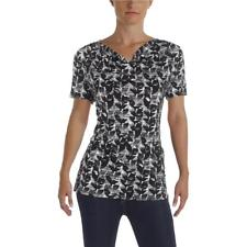 BOSS Hugo Boss Womens Etila B/W Short Sleeves Pull Over Blouse XL BHFO 9776