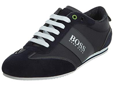 Hugo Boss BOSS Men's Lighter Low Coated Canvas Suede Sneaker by BOSS Green  Dark Blue Shoe