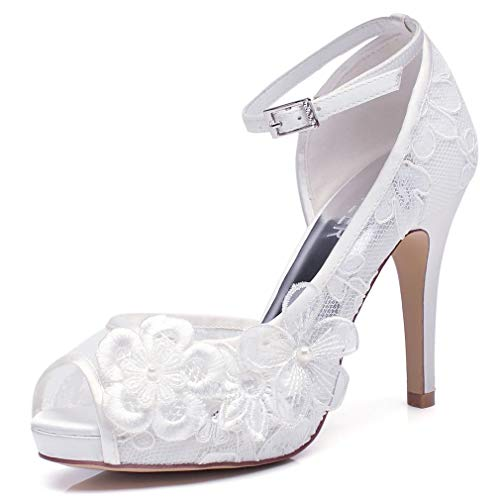 Amazon.com | LUXVEER White Lace Wedding Shoes for Bridal with Floral  Brooches Medium Heel-4inch-Peep Toe | Heeled Sandals