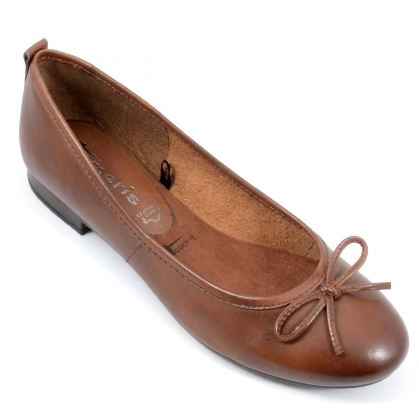 ... Buy Online Flats / Bellies - Classy Brown Leather Low Heel Women  Ballerinas | Tamaris Germany ...