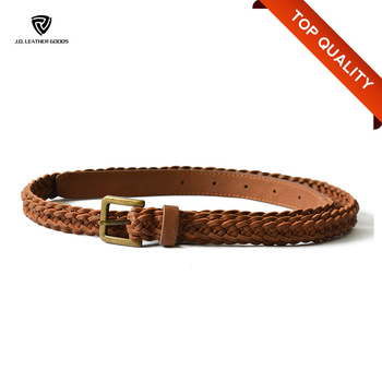 Brown Ladies Belt/Guangzhou PU Braided Belt/Hot Sale Women Waist Belt for  Dress