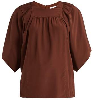 COM · Chloé Square Bib Silk Crepe De Chine Blouse - Womens - Dark Brown