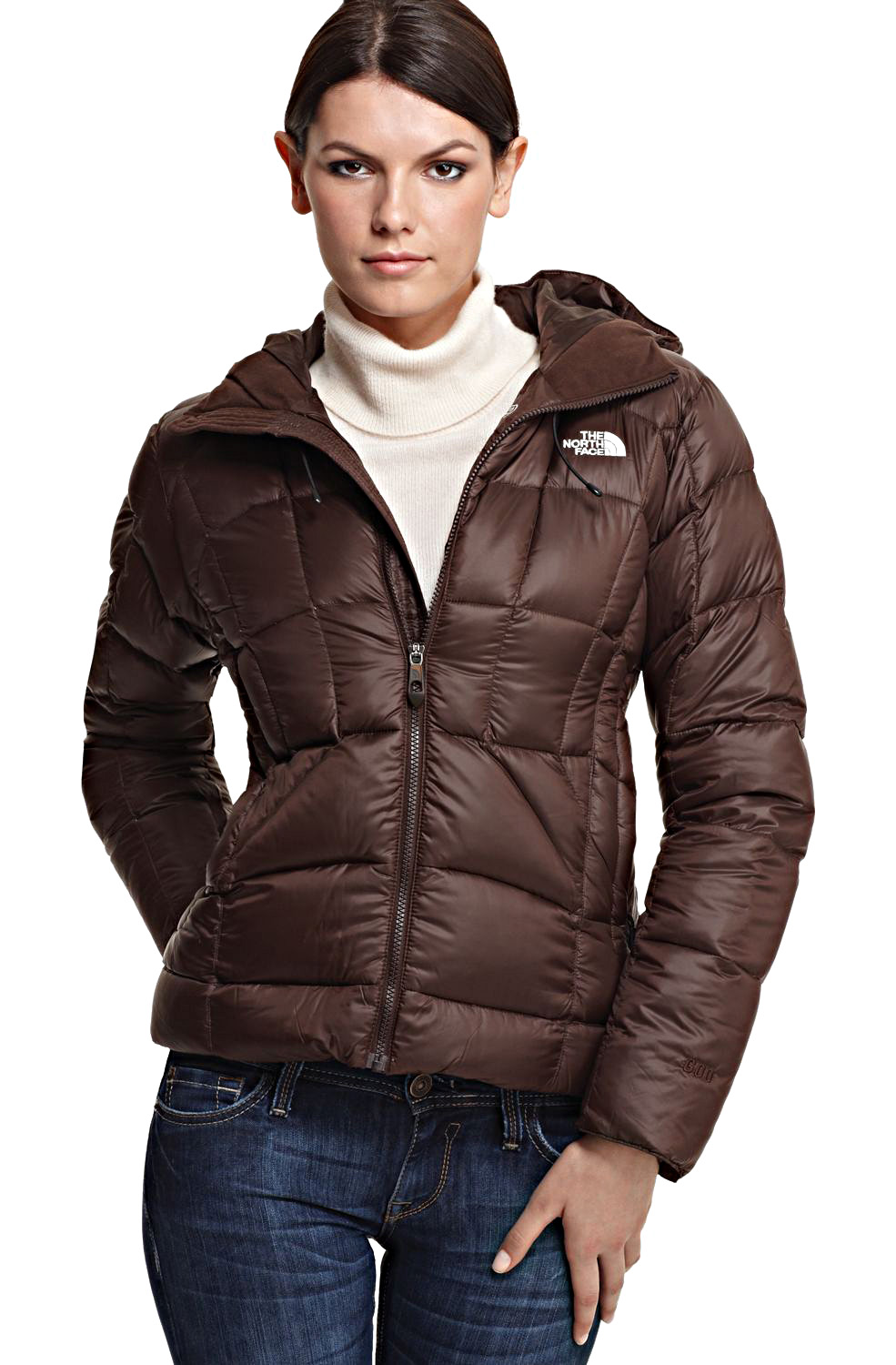 Brown hooded The North Face u201cDestinyu201d down jacket