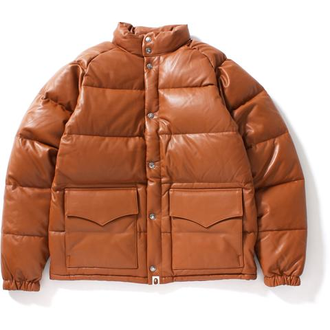 Bape Leather Classic Down Jacket Jacket Brown