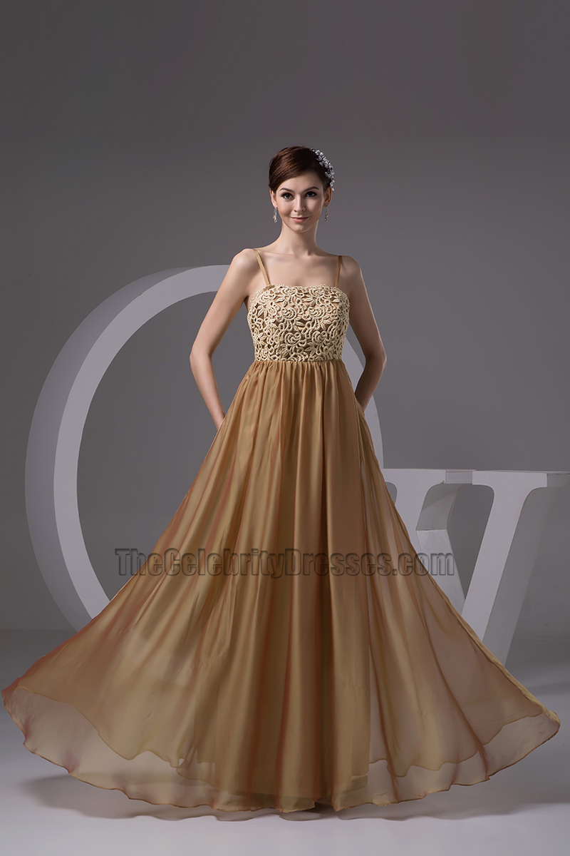 Gorgeous Brown Spaghetti Straps Formal Dress Evening Gown -  TheCelebrityDresses