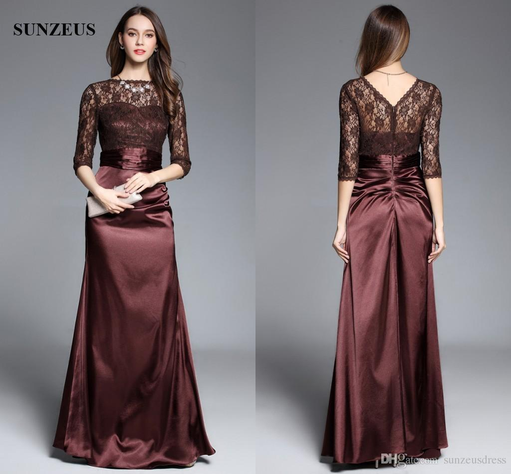 Lace Half Sleeve Long Satin Women Evening Dresses Elegant Brown Mother Of  the Bride Party Dress Formal Gowns Women Evening Dresses Lace Half Sleeve  Evening ...