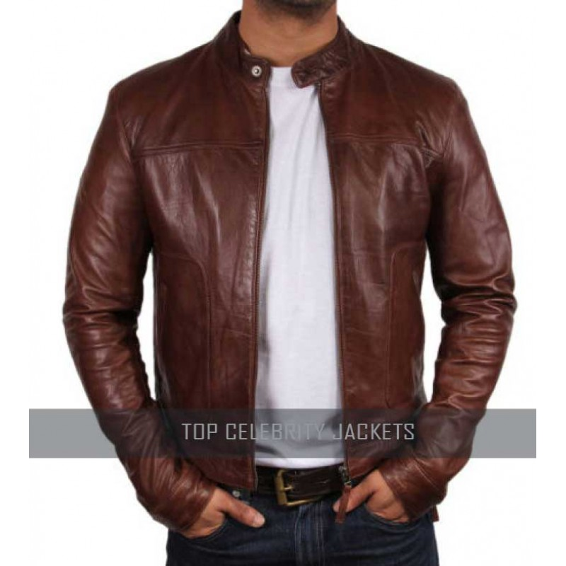 Brown Men Leather Bomber Jacket