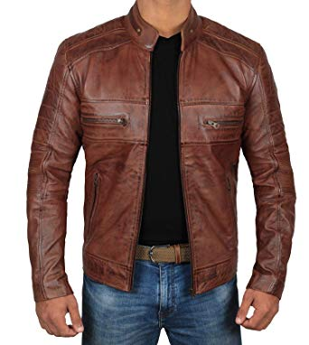 Decrum Moto Leather Jacket Men - Brown Quilted Mens Leather Jackets  (Austin- XS)
