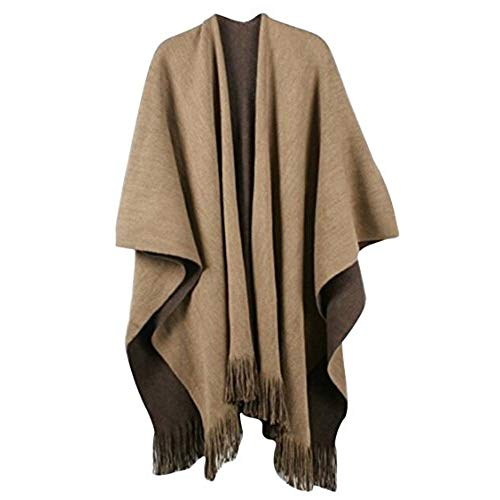 Timemory Womens Winter Solid Knitted Cashmere Poncho Capes Shawl Sweater Brown  Brown One Size