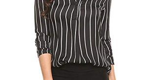 ANGVNS Women V Neck Long Sleeve Casual Chiffon Office Blouse, Black, L
