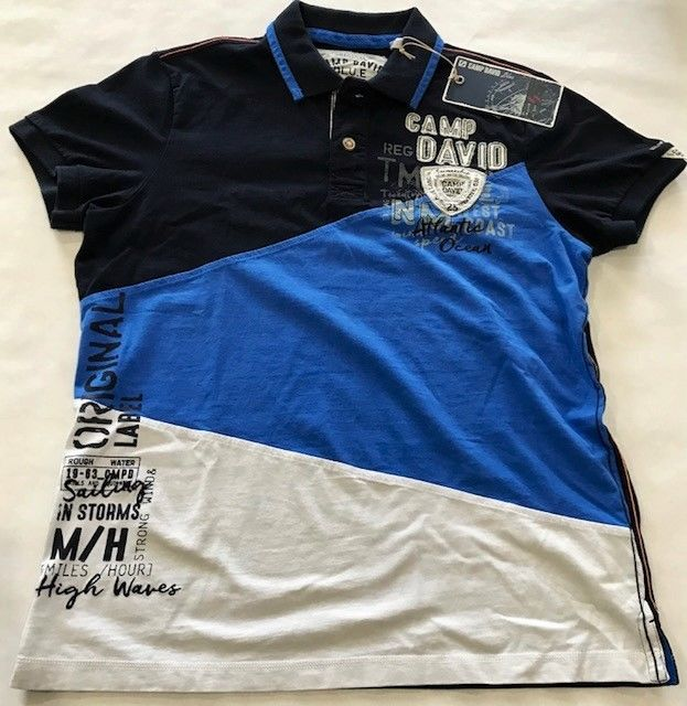 Camp David Rough Waters II Dark Navy 3 Colored Polo Shirt Medium Size | eBay