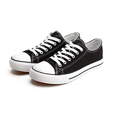 ZGR Canvas Sneaker Low Cut Season Lace Ups Shoes Casual Trainers for Women  and Teenager Black