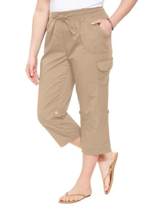 Woman Within - Convertible-Length Cotton Cargo Capri Pants - Women's Plus  Size Clothing,