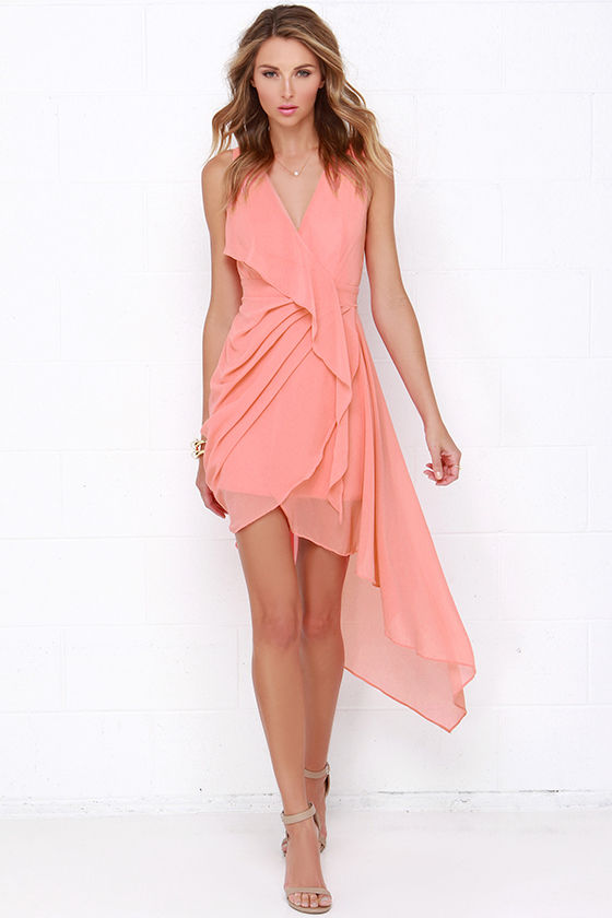Elegant Gathering Coral High-Low Dress