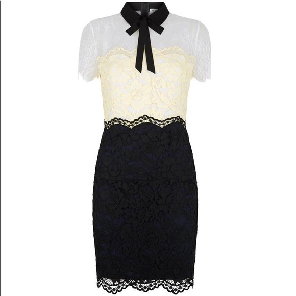 Rozen Lace Dress, Bow Black White Yellow Tricolor