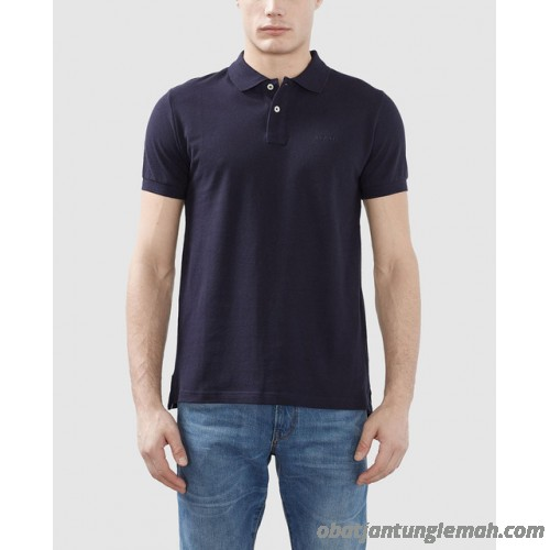 Esprit menu0027s basic blue short-sleeve piqué polo shirt Esprit Man Polo Shirts  4057967887713 ELFNTLX