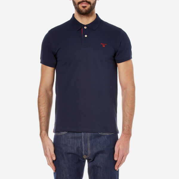 GANT Menu0027s Contrast Collar Polo Shirt - Thunder Blue: Image 1