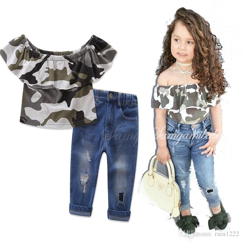 2019 Girls Kids Shirts Tees Jeans Suits Outfits For Children Baby Strapless  Ruffles Camouflage Tops Ripped Jeans Denim Pants Clothing Sets Suits From  ...