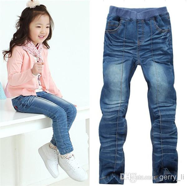 2016 Spring Children Jeans Girls Sewing Thread Design Jeans Stretch Denim  Long Pants Kids Clothes Girls Cuffed Jeans Super Skinny Jeans For Kids From  ...