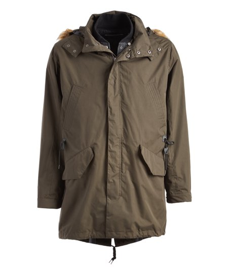 Olive Faux Fur-Accent Hooded Convertible Jacket - Men
