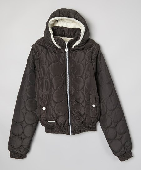 Black Circle Hooded Convertible Jacket - Girls