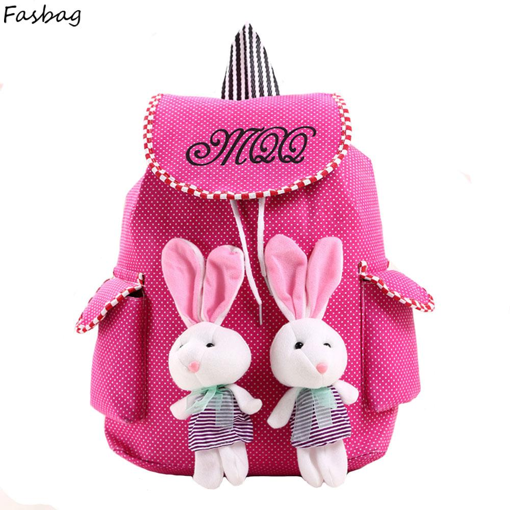 Canvas backpack Rabbit Kid drawstring bag Kids school bags for girls ,  Children bag Backpack kids Bags for kid with side pockets