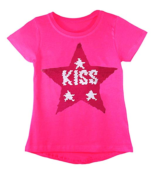 Traveller Location: Kids Girls Changing Sequin Sizes Heart Butterfly Tops Brush  Love Star 3-14 Years: Clothing