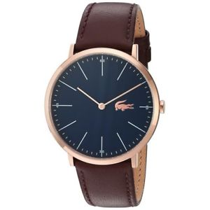 Image is loading LACOSTE-Mens-Brown-Leather-Strap-Blue-Dial-Gold-