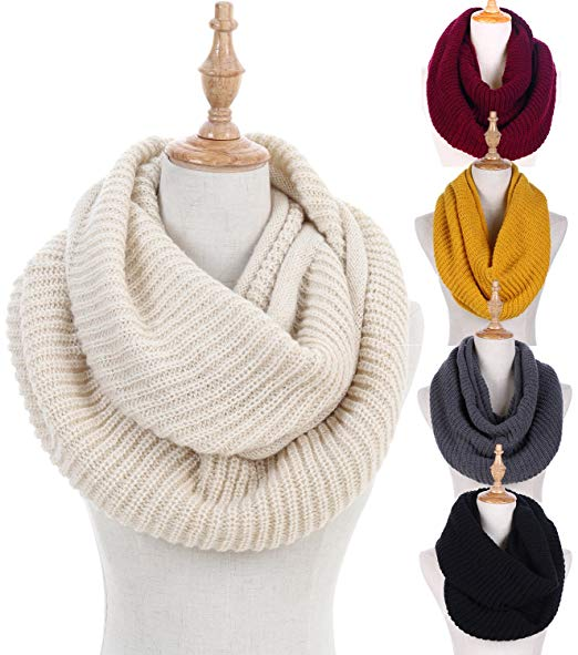 Women Winter Knit Infinity Scarf Fashion Circle Loop Scarves Thick  Warm(Red/Black/