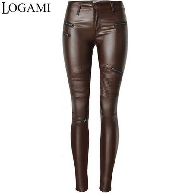 Faux Leather Pants Skinny Womenu0027S Pants PU Sexy Elastic Zipper Biker  Trousers Pantalon Femme 2017