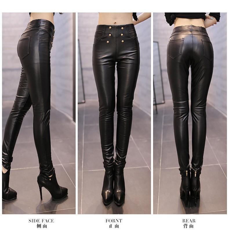 Pu Leather Pants Women Winter Trousers Female High Waist Elastic Skinny  Fleece Stretch Slim Women Pencil Pants