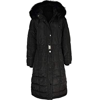 Fashion Thirsty Womens Long Winter Coat Padded Quilted Puffa Jacket Fur  Hooded Plus Size (US