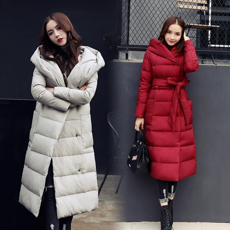 2017 Solid Color Plus Size Hooded Parka Winter Jacket Women Long Quilted  Coat Cotton Warm Puffer