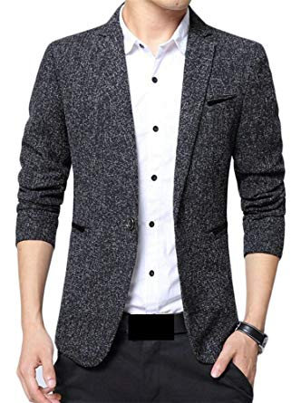 X-Future Mens Business Cotton One-Button Slim Fit Suit Blazer Jackets Coat  Black