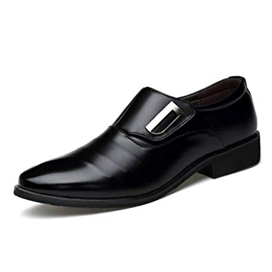 Seakee Men's Business Slip-on Dress Shoes Semi-Formal Oxford(Black) US