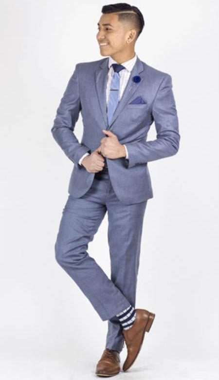 Winter Formal Suits Modern Mens Slim Fit Light Blue