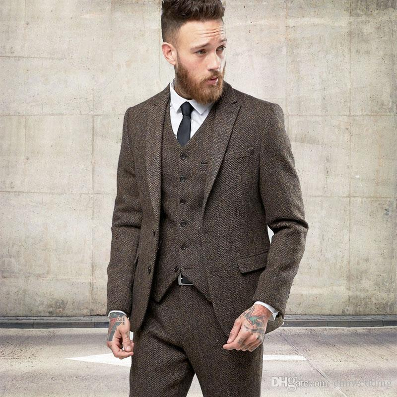 Custom Tweed Wool Men Suits Winter Formal Skinny Wedding Tuxedos Gentle  Modern Blazer Men SuitsJacket +Pants+Vest White Tie Formal Bright Colored  Tuxedos ...