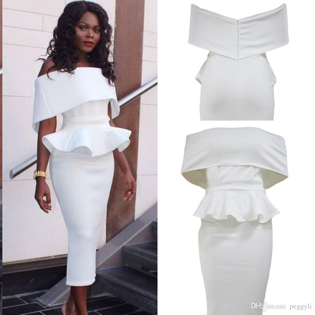 2019 White Off Shoulder Bodycon Peplum Dress 2017 Modest Sexy Nigeria Plus  Size Vintage Tea Length Cocktail Party Prom Dresses Cheap LC61483 From  Peggyli, ...