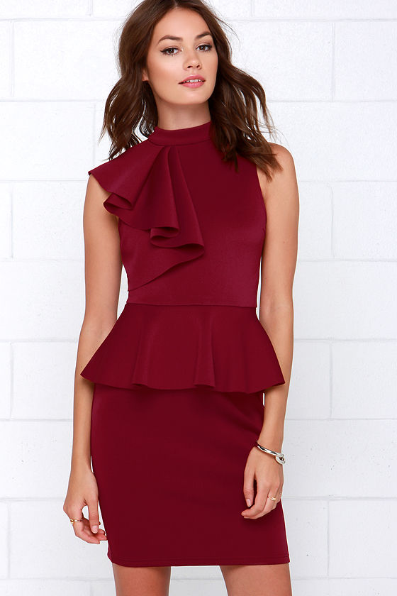 Positively Frilled Wine Red Peplum Dress