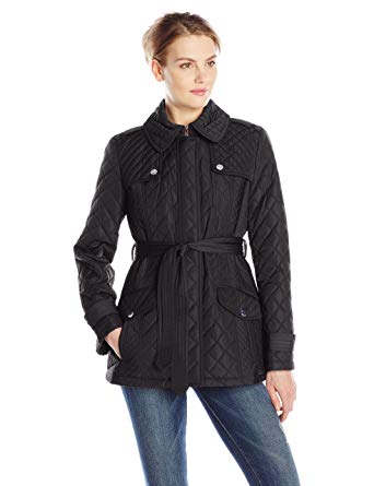 Anne Klein Women's Quilted Jacket with Belt, Black, Large