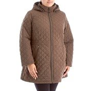 Plus Size Quilted Coat with Cinched Waist and Detachable Hood