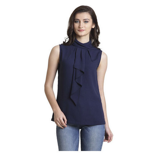IRALZO Navy Blue Sleeveless Azure Top For Women